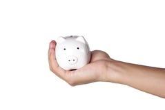 Piggybank en hand Royalty-vrije Stock Foto's