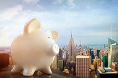 Piggybank en Nueva York Imagen de archivo libre de regalías