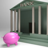 Piggybank Entering Bank Shows Money Loan. Or Monetary Help Stock Images