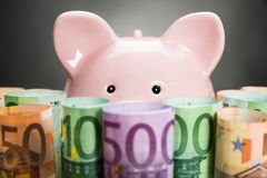 Piggybank With Euro Notes Royalty Free Stock Photos