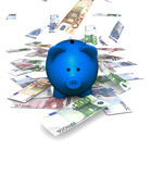Piggybank Falling Euro. A funny piggybank or money-box with falling money (euro Stock Images