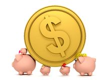 Piggybank family with a coin Stock Photos