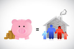 Piggybank and family home illustration design Royalty Free Stock Photos