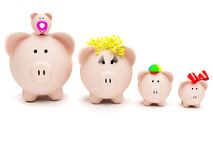 Piggybank family isolated Stock Photos