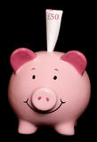 Piggybank with fifty pound note Stock Images