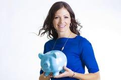 Piggybank-Frau Lizenzfreies Stockfoto