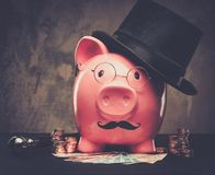 Piggybank. In glasses and hat with pile of coins and banknotes stock photography