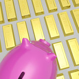 Piggybank On Gold Bars Shows Wealth. And Financial Growth Royalty Free Stock Images