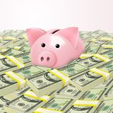 Piggybank in heap of money Stock Photos