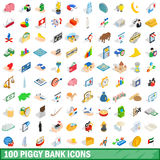 100 piggybank icons set, isometric 3d style. 100 piggybank icons set in isometric 3d style for any design vector illustration Royalty Free Stock Photos