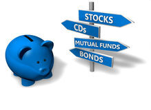 Piggybank Investment. Piggybank or money-box with investment options on directional signs Stock Images