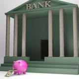 Piggybank Leaving Bank Showing Currencies Royalty Free Stock Photography