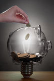 Piggybank lightbulb savings Royalty Free Stock Photo