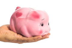 Piggybank in male hand isolated on white. With clipping path Stock Photography