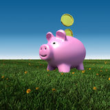 Piggybank on a meadow with blue sky background. Finance saving concept Stock Photos