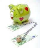 Piggybank met Dollar en Euro Stock Foto's