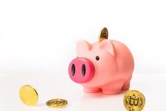 Piggybank mit bitcoins Lizenzfreie Stockbilder