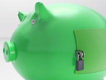 Piggybank mit geschlossener Tür zeigt Sicherheits-Wölbung Lizenzfreie Stockfotos