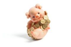 Piggybank mit Münzen Stockbild