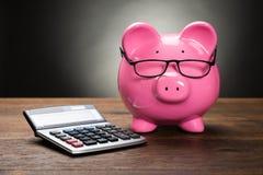 Piggybank mit Taschenrechner Stockfoto