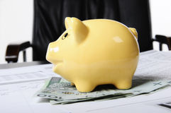 Piggybank and money Stock Photos
