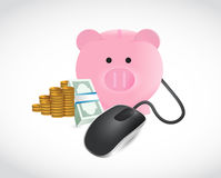 Piggybank money and coins illustration Stock Photography