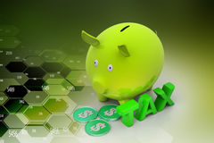 Piggybank and money. In color background Stock Photo