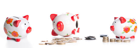 Piggybank and money tower isolated Stock Photo