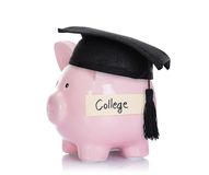 Piggybank with mortar board and college label Stock Image