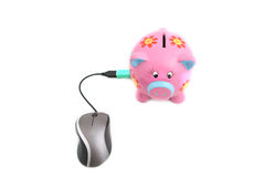 Piggybank and Mouse. Isolated ergonomic mouse and Piggy bank shot over white background Stock Photos