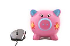 Piggybank and Mouse Stock Photos