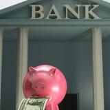 Piggybank Na banku Pokazuje Zbawczego oszczędzanie Fotografia Royalty Free