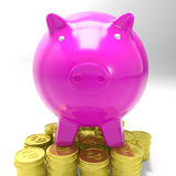 Piggybank nas moedas que mostram economias Imagens de Stock Royalty Free