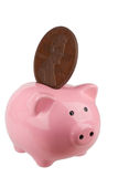 Piggybank with oversized penny Stock Photography
