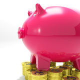 Piggybank på ekonomi för myntshowInternational Arkivbilder