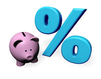 Piggybank Percent. Representation of percent growth by a piggy-bank and a big green percentage symbol Royalty Free Stock Photos