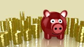 Piggybank and piles of coins Stock Photography
