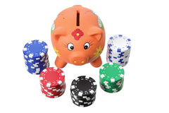 Piggybank and Poker Chips Royalty Free Stock Images