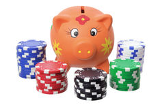 Piggybank and Poker Chips Royalty Free Stock Photo