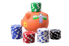 Piggybank and Poker Chips Stock Photos