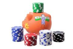 Piggybank and Poker Chips Stock Photos