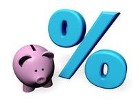 Piggybank Prozente Lizenzfreie Stockfotos