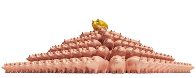 Piggybank-pyramid. Pyramid from piggy-bank with a gold  pig on a top Royalty Free Stock Images