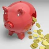 Piggybank quebrado mostra economias do dinheiro Fotografia de Stock
