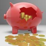 Piggybank quebrado que mostra economias financeiras Imagens de Stock