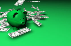 Piggybank Savings Money. A funny piggybank with falling dollar banknotes on green background with copyspace Stock Image