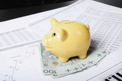 Piggybank set on the money Stock Photography