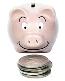 Piggybank with Silver Dollars. Piggybank happy about its silver dollar savings. Big dollar little back. Images shows the importance of saving. The silver dollar stock photo