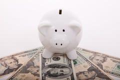 Piggybank sopra le fatture del dollaro Fotografia Stock Libera da Diritti
