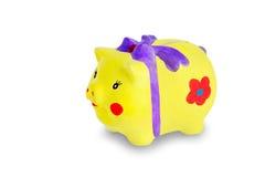 Piggybank su bianco Fotografia Stock Libera da Diritti